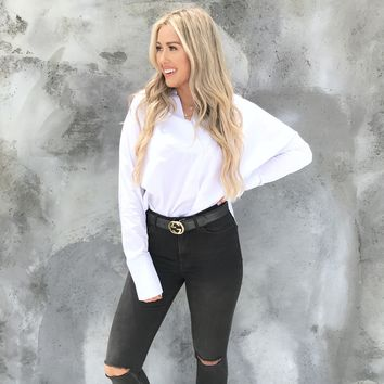 Frequent Flyer White Business Blouse