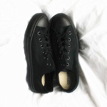 """Converse"" Fashion Canvas Flats Sneakers Sport Shoes Low tops Sapphire Black(black soles)"