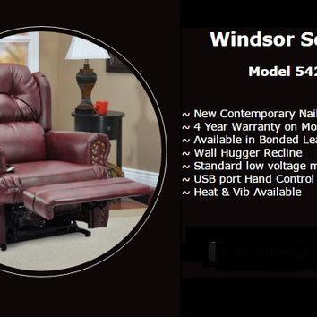 MedLift Windsor Power Lift Chair Recliner, Wall Hugger, Full Recline, Bonded Leather 5420