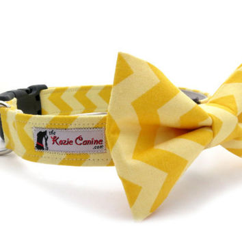 Yellow Chevron Dog Collar Matching Bow Tie by theKozieCanine