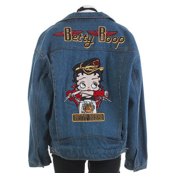 "Oversized Denim Jacket Betty Boop Jacket Biker Jacket Novelty Embroidered Jacket 80s Clothing Vintage Clothing Women's Size XL 52"" Bust"