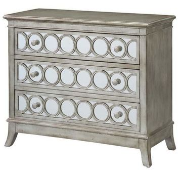 Beverly Gold Leaf Mirrored Circle 3 Drawer Chest by Crestview Collection CVFZR1602
