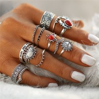 14Pcs/set Women Boho Vintage Silver Turquoise Flower Finger Knuckle Rings Gift