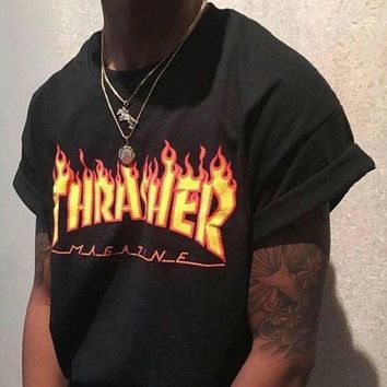 Thrasher Magazine Flame Personality T-Shirt Print Short Sleeve Top Black G