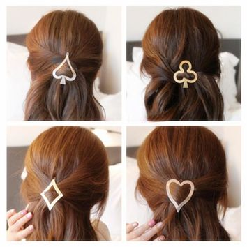 Women Fashion Headwear Hair Accessories Vintage Poker Design Hairpin Metal Hair Clip Girls Headdress Heart Plum Flower Hair Pins