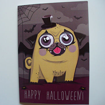 Pug Card, Pug Happy Halloween Card, Funny Halloween Card, Animal and Dog Hand Illustrated Holiday Greeting Card, gift for kids and doglover