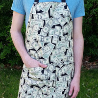 Money Apron, Adult Apron, Unisex Apron, Money Print Apron, Funny Apron, Awesome Apron, Money Fabric Apron, Money, Nerdy Apron