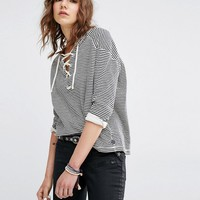 Maison Scotch Striped Sweatshirt With Lacing