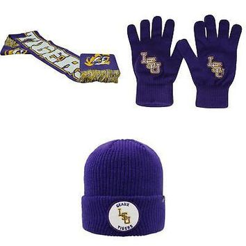 Licensed NCAA LSU Tigers Spirit Scarf TOW Knit Glove And Wharf Beanie Hat 3 Pack 14317 KO_19_1