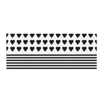 """Project M """"Heart Stripes Black and White"""" Monochrome Lines Bed Runner"""