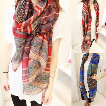 Women Scarf  Retro Ladies Bohemian Voile Soft Silk Scarf Large Beach Shawl Scarves