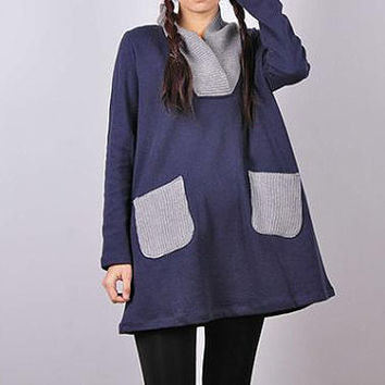 women dark blue cotton Casual shirt/ long bottoming shirt