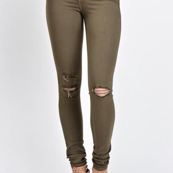 Kan Can Olive Skinny Jeans