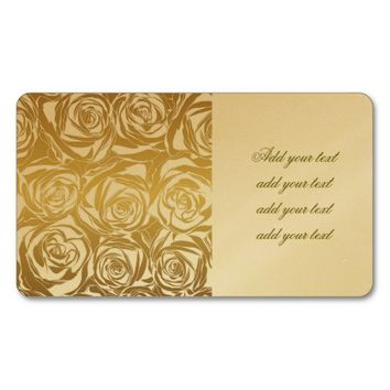 faux gold,roses,pattern,art deco,beautiful,chic,el Double-Sided standard business cards (Pack of 100)