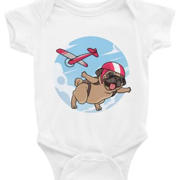 Pug Baby Boy Onesuit | Funny Skydiving Dog Romper | The Jazzy Panda