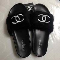 CHANEL Lover Women Men Slipper Soft Nap Fur Shoes