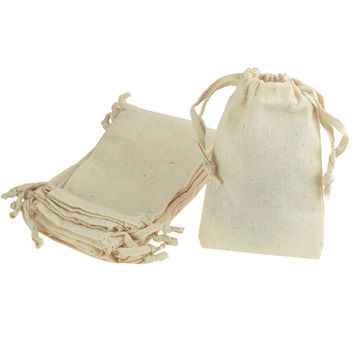 Cotton Favor Bags with Drawstrings, 12-Piece