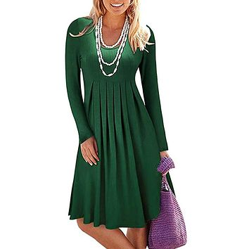 Pure Color Square Neck High Waist Women Short Loose Dress