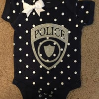 Police Onesuit - Police Polka Dot Onesuit - Police Baby - Glitter Onesuit - Onesuit - Ruffles with Love - Girls Onesuit