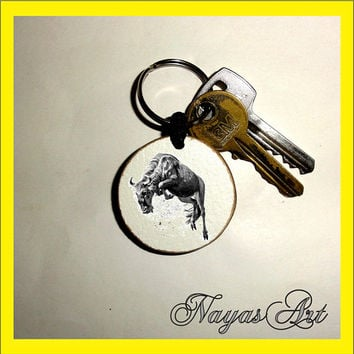 Wildebeest Keychain personalized. Accessories Gnu animal keyring. White Wood Handmade Keyring Keychain. Unique keychain Wooden natural gift