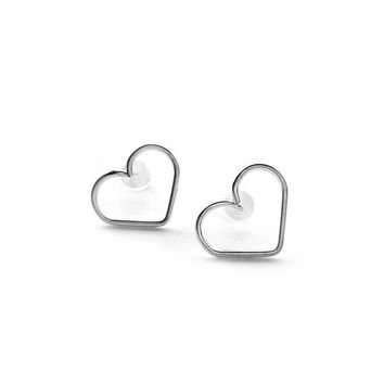 Heart Earrings - Dainty Silver Stud Earrings, Love Earrings, Anniversary Gift For Her