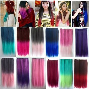 4/5 Clips Heat Resistant Fiber Synthetic Hair Extensions Straight T Color More Colors Womens High Temperature Hairpiece