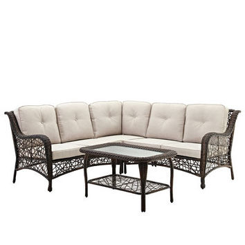 Outdoor Brown Rattan Sectional with Cushions & Table Set