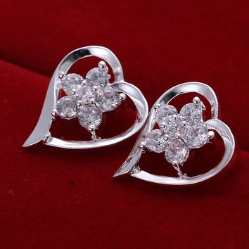 online shopping india silver plated earring Insets Heart Flower stud orecchini Jewelry European Style MP