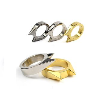 2Pcs/Lot EDC Tactical Self Defense Supplies Tool Stainless Steel Safety Survival Finger Ring Defence Accessories for Men Women