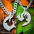 Buck and Doe Necklace, STAINLESS STEEL CHAINS, Interlocking Love Quarter,Hand Cut Coin