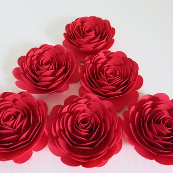 "bright red paper flowers, set of 6 Large roses, 3"" Wedding centerpiece table decoration, bridal shower decor, graduation or birthday party"