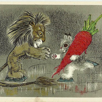 Lion, Rabbit with carrot , Vintage  Russian Postcard artwork Golubev unused print 1966