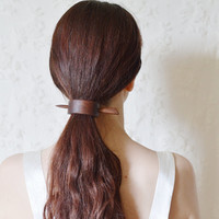 Forest song and waterfall- brown walnut wood hair stick barrette