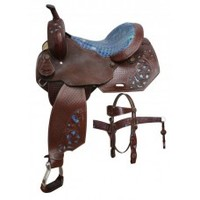 14 inch Barrel Saddle Set with Matching Headstall and Breastcollar, saddle sets featuring smooth alligator print seat