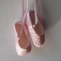 Ballet Shoes for Baby in Pink Satin  Custom and by JibJabbers