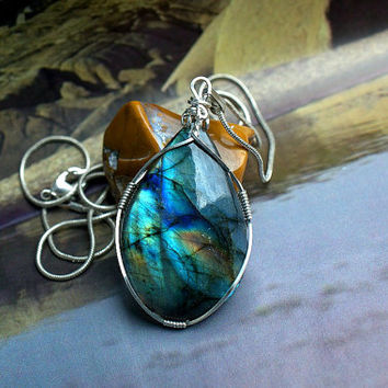 Silver wire wrapped Labradorite pendant pear shape with a silver plated necklace