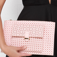 Doil Me Twice Laser-Cut Blush Pink Clutch