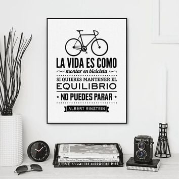 Spanish Bicycle Wall Art Canvas Prints Poster , Life is Like A Bicycle Canvas Prints Poster Spanish Home Living Room Decoration