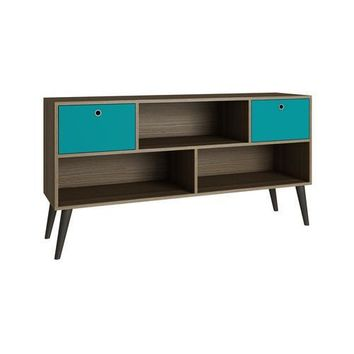 Accentuations by Manhattan Comfort Modern Uppsala TV Stand with 3- Shelves and 2- Drawers in Oak and Aqua