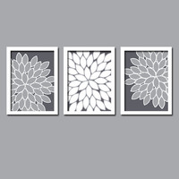 Gray White Wall Art Canvas Bedroom Artwork Grey Charcoal Flower Burst Dahlia Bloom Petals  Set of 3 Trio Prints  Decor Bathroom Three
