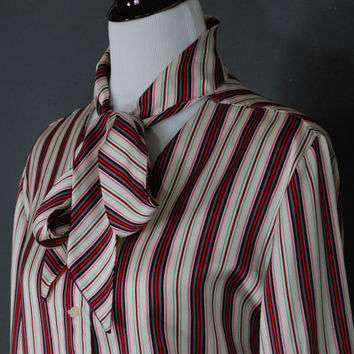 Vintage Blouse / Plus Size / Ribbon Tie / Secretary Blouse / Striped / 1970's