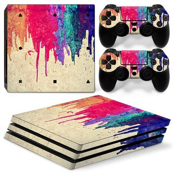 Colorful Style Skin for PS4 Pro Console and Two Controller Covers