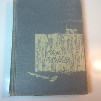 Vintage Tom Sawyer Mark Twain Hardcover Book Good Condition Collectible No Jacket 1950 Ships Worldwide Grey Boards Literary Classics