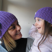 Beanie for mother and daughter..........Violet crochet hats....