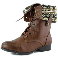 Women's Lace Up Fold Over Round Toe Military Combat Boot Cognac Color, 11, Cognac , 11