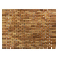 "Woven Teak Bath and Shower Mat (Indoor or Outdoor) - Brown - (27.5"" x 19.5"" x .28"") - Hip-o Modern Living"