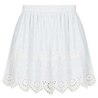 Blue Cutwork Cotton Skirt