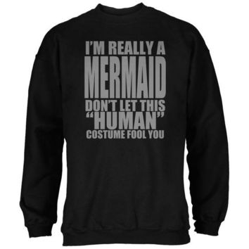 DCCKJY1 Halloween Human Mermaid Costume Black Adult Sweatshirt