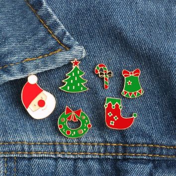 Trendy 6Pcs/set Christmas Hat Sock Tree Crutch Dress Brooch Button Pins Badge Pin Denim Jacket Clothing Backpack Jewelry Christmas Gift AT_94_13