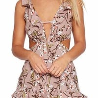 Backless Cutout Floral Romper
